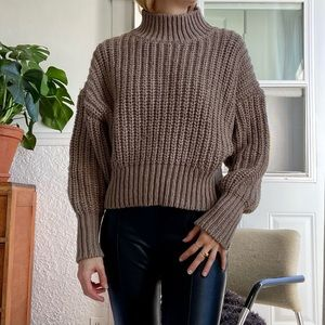 H&M chunky knit mock neck oversized brown sweater